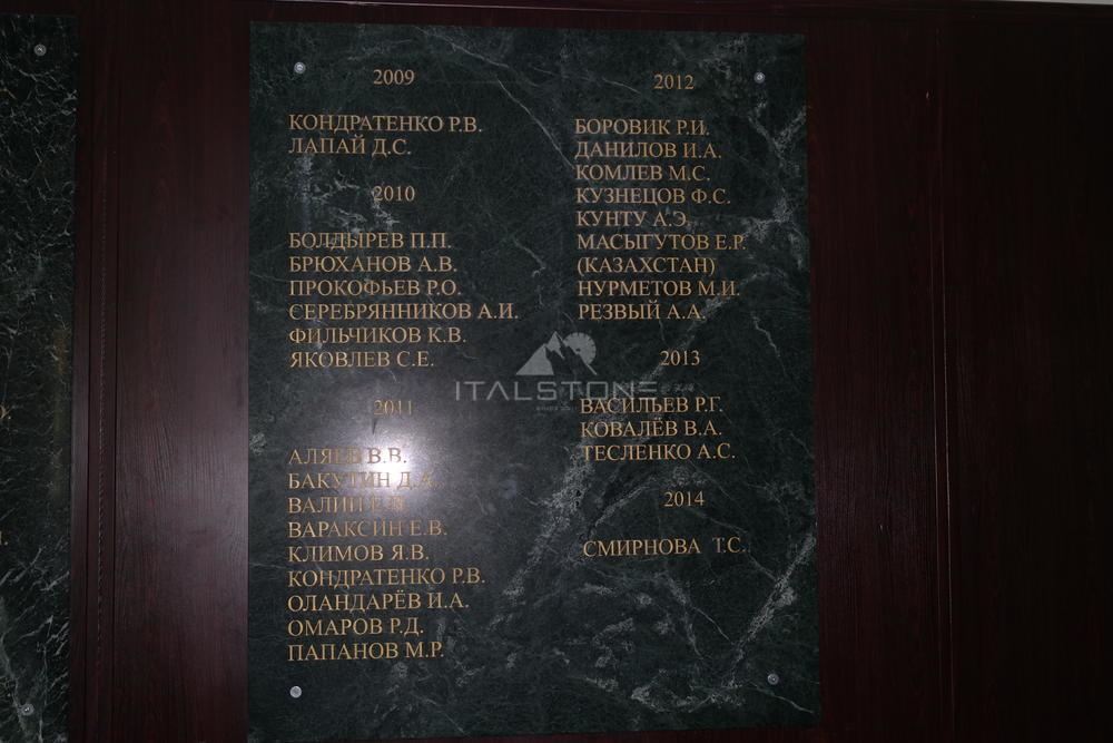Доска почета для военного института из мрамора Verde India