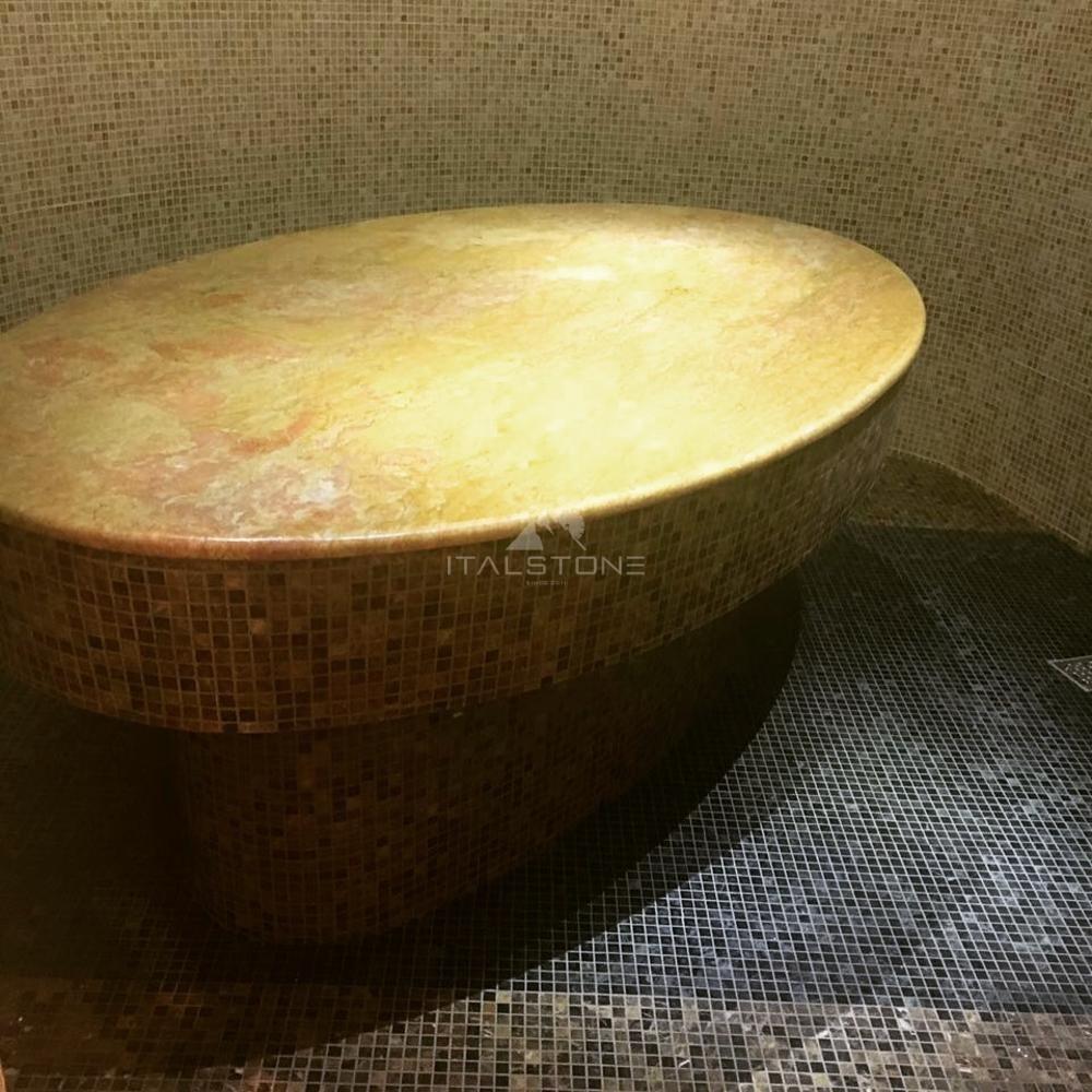 Лежак из мрамора Giallo reale в хаммам и плитка из Emperador