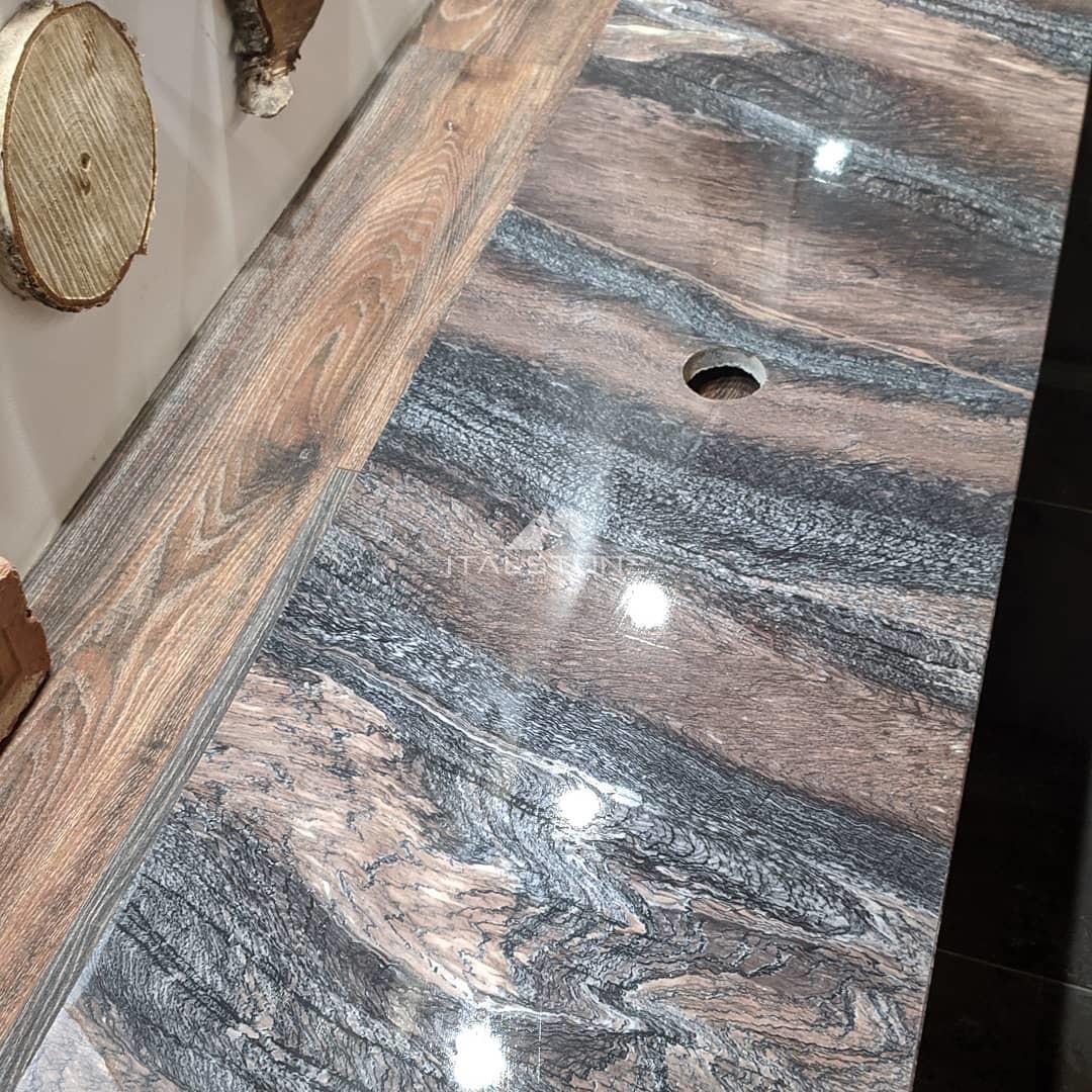 Столешница в ванную из мрамора Cippollino ondulato